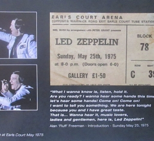 IT WAS 40 YEARS AGO TODAY – LED ZEPPELIN AT EARLS COURT SUNDAY MAY 25 1975 /DL DIARY UPDATE