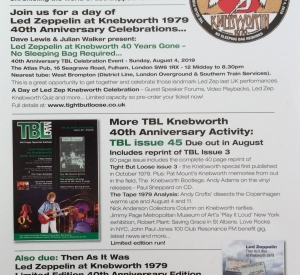TBL SUMMER ACTIVITY/JIMMY PAGE IN GUITARIST MAGAZINE/LZ NEWS/TBL ARCHIVE – PAGE & PLANT PARIS 1995 & LZ DVD 2003/ DL DIARY BLOG UPDATE